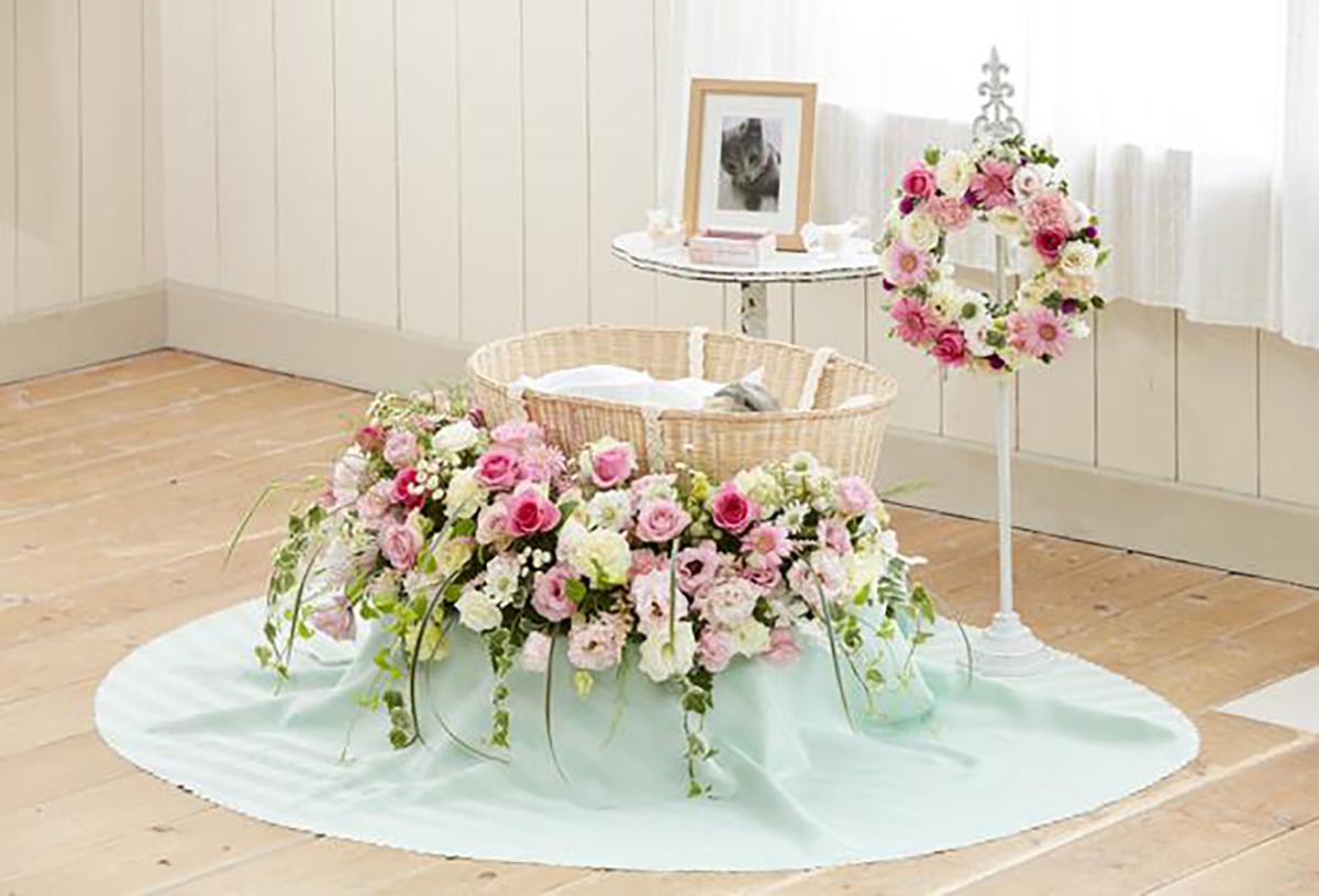 花祭壇ラウンドピンク&リース